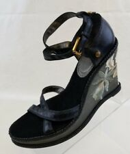 J Vincent Wedge Platform Floral Embroidery Brown Leather Womens Shoes Size 8 NEW