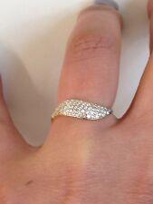 anello donna oro giallo 18 kt 750% con zirconi bianchi misura 15 onda