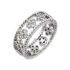925 Sterling Silver ETERNITY ROPE CLUSTER ring w/ DIAMONDS SZ 5-9 /NEW DESIGN!