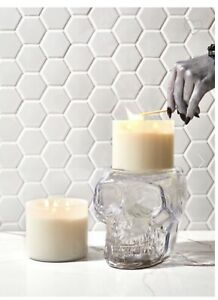 Bath & Body Works Light Up Skull Pedestal 3 Wick Glass Candle Holder *CONFIRMED*