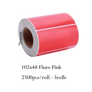 102x48mm Fluro Pink Label Roll Thermal Transfer 2500/roll 5rolls Core 76mm