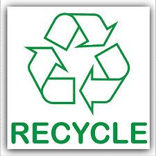 1x recycle-sticker-recycle logo segno, il riciclaggio, rifiuti, lattine, carta, plastica, bottiglie