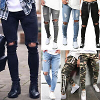 Men Stretch Ripped Skinny Jeans Distressed Frayed Slim Fit Denim Pants Trousers