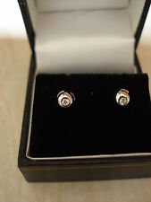 PAIR OF 18 CARAT WHITE GOLD FANCY DIAMOND STUD EARRINGS MADE IN UK BRAND NEW