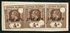 Cayman Is SG40s KGV 1/4d Brown x 3 Opt Specimen and Punched on a piece of ledger
