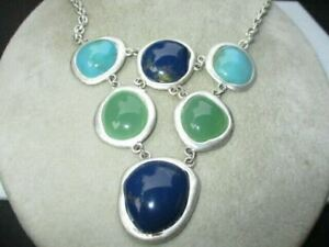 899- CHUNKY FESTOON NECKLACE OP ART JELLY LUCITE IN SILVER TURQUOISE GREEN BLUE