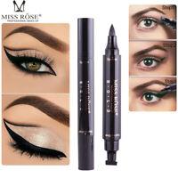 Miss Rose Dual Eyeliner Stamp Waterproof Black Liquid Eye Liner Pencil Cosmetics