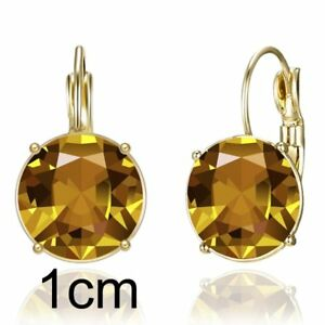 Elegant Women Crystal Zircon Round Heart Rhinestone Drop Dangle Hoop Earrings