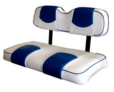 Club Car Ds 2000&Up Golf Cart Custom Seat Covers-Front and Rear (White&Bluechp)