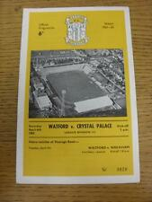 06/04/1963 Watford v Crystal Palace  . Item in very good condition, unless previ