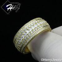 MEN 925 STERLING SILVER FULL LAB DIAMOND 10MM GOLD WEDDING BAND RING*GR119