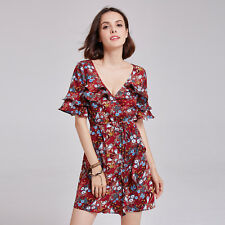 Alisa Pan Casual Dress A-Line V-Neck Floral Wrap Boho Dresses 05928 Size 6