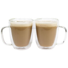 Set of 4 Double Wall 47cl Glass Mugs Cappuccino Coffee Tea Latte Hot Drinks Cups