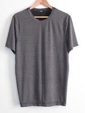 EUC Lululemon Mens Crew Neck SS Mesh T-Shirt Heathered Grey Black M L Run Gym