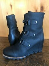 Sorel JOAN Of ARTIC BLACK WEDGE BOOTS 10 BLACK/Quarry  Waterproof Ankle boots