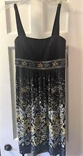 FORMAL DRESS SIZE 6 Black w/Yellow/White/Gray/Beads EXCELLENT CONDITION