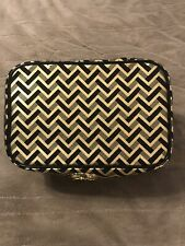Cosmetic Makeup Hair Are Case With Mirror, Black/Gold Chevron Print