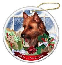 Australian Terrier Dog Porcelain Ornament Pet Gift 'Santa. I Can Explain!'