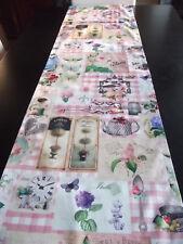 Tischläufer Teatime Impressionen Zaunkönig Vintage 170x40 kariert Veilchen Tee