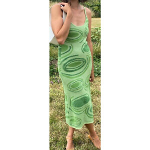 House of Sunny Hockney Inspired Cut Out Knit Dress - Green - L UK 10 12 14