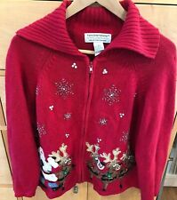 Vintage Tiara International Ugly Santa Reindeer Christmas Large Sweater