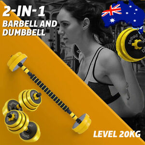 Adjustable Dumbbell Barbell Switch Weight Pair Free Weight Multifunction -(20KG)