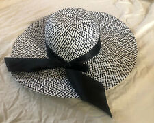 Black And White Womens Floppy Hat Black Ribbon Bow New