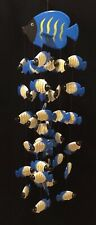 Fish Mobile Folk Art Hand Made Hand Painted Blue, Yellow, White for Beach House