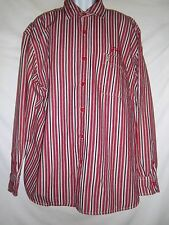 3X Men's Phat Farm XXXL Big  Tall Cotton  Long-Sleeve Red/Black Striped Shirt