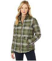 Lauren Ralph Lauren Womens Plaid Puffer Jacket Green Size Medium M
