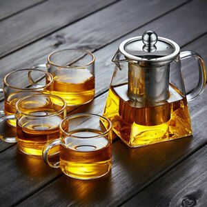 4 Sizes Heat Resistant Glass Teapot with Strainer Filter Infuser Tea Pot