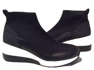 MICHAEL KORS Skyler MK Logo Black Knit High-Top Stretch Wedge Sneakers US 8.5