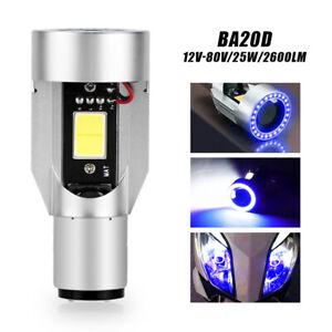 BA20D 25W Motorcycle LED Headlight Bulb Scooter Lighting Blue Angel eyes Hi/Low
