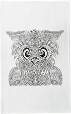 The Zentangle Owl Large Cotton Tea Towel by Half a Donkey