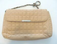 SACATINI Quilted Pattern Tan Purse Magnetic Clasp Chain Handle (m)