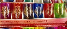 Set Of 6 Moroccan handmade tea Glasses.Hamsa Design Moroccan Tea Cups