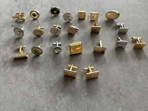 men's cuff links Marked and unmarked  Singles Lot of 22 gold tone silvertone