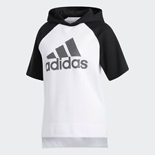 adidas Womens Athletics Fashion Pullover Short Sleeve Hoodie, Size Large