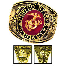 Official US Marines Deluxe Engraved Gold Color Ring -Size 11