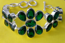 """Beautiful 925 Silver Bracelet With Chrome Diopside Gems 57.5 Gr.8."""" Inches Long"""