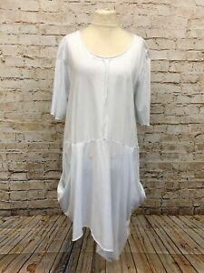 Moonshine Fashion Kleid Tunika Überwurf Lagenlook Übergröße 46 48 50 weiß Neu