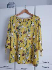 Florales Damen Jersey Shirt Blusenshirt Gelb gemustert von Cecil Gr. XXL 46/48