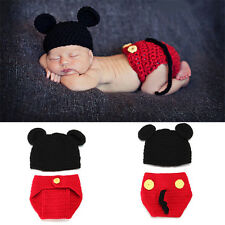 Newborn Baby Infant Mickey Mouse Knit Costume Photograph Prop Crochet Outfits X1