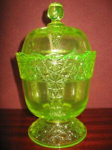 Vaseline Uranium glass coffee sugar candy dish pitcher Daisy and button pattern