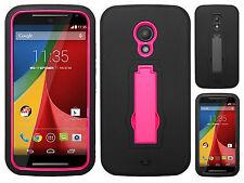 Motorola Moto G 2nd Gen IMPACT HYBRID KICKSTAND Rubber Case Cover + Screen Guard