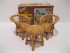 Vintage Wicker Rattan Dollhouse Doll Furniture Barbie 3 Piece Patio Chair Set