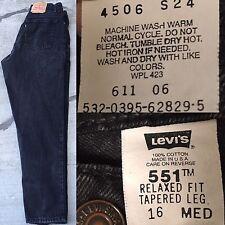 """Vtg Levi's 551 Relaxed Fit Tapered Leg Jeans Black High Waist 16 Med 34"""" Waist"""