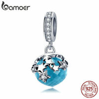 BAMOER Starlight S925 Sterling Silver Charm With Blue Glass dangle Fit bracelet