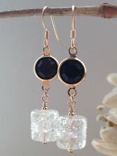 Vintage Black Bezel & Clear Crackle Barrel Glass 14ct Rolled Gold Earrings