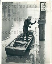 1937 Man Takes Boat to Check Mail Box Pittsburgh PA Flood Press Photo